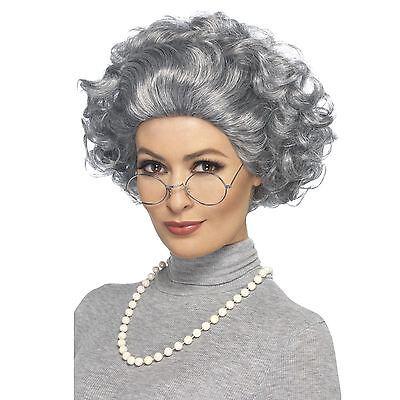 Alt Damen Oma Oma Damen Perücke Brillen & Perlenkette Kostüm Set (Alte Dame Kostüm Brille)