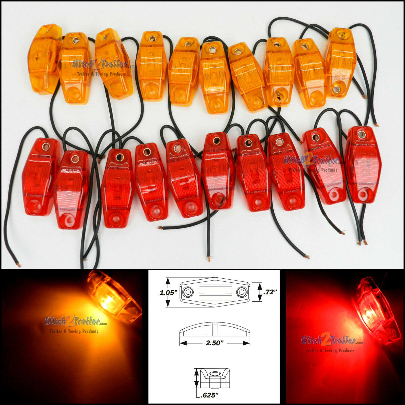 20 Optronics Red & Amber LED light Clearance Marker Trailer Truck Surface 1 wire