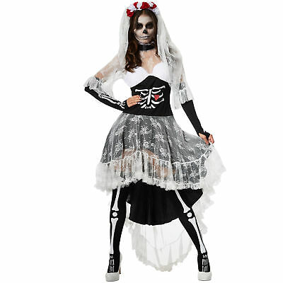 Kostüm Damen Zombie Skelett Braut Geisterbraut Fasching Karneval (Zombie Kleid)