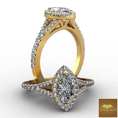 Halo Split Shank Prong Setting Marquise Diamond Engagement Ring GIA H VVS2 1 Ct