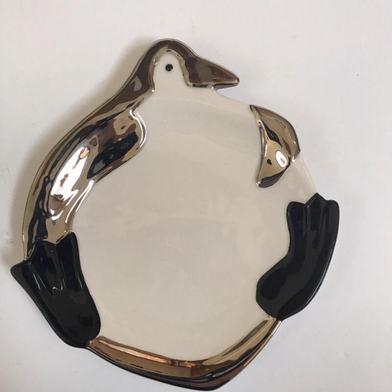 Department 56 Penguin Ceramic Silver Dish Decor White Trinket Tray Holiday Small