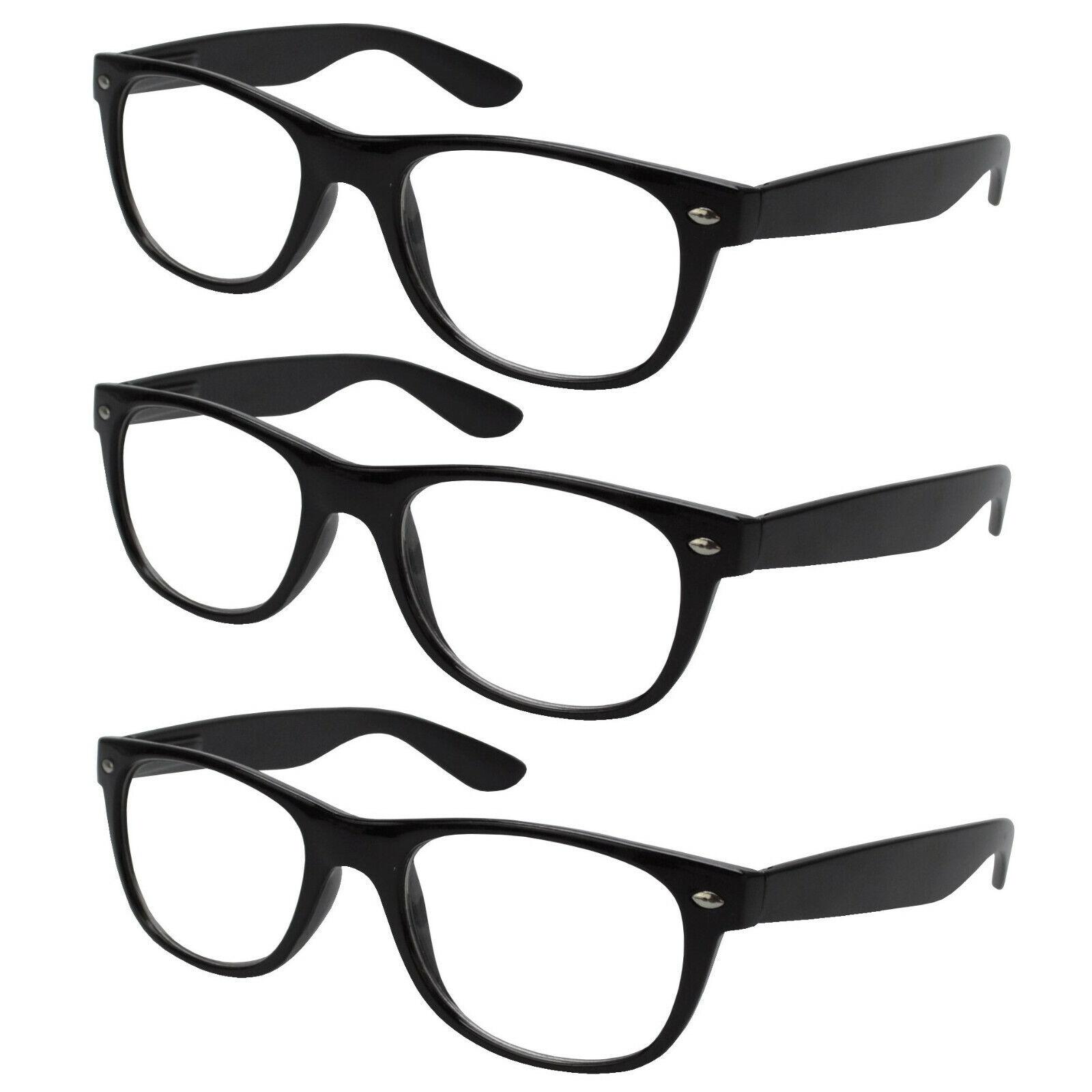 3x Lesebrille schwarz Lesehilfe Sehhilfe Kunststoff Brille Vollrahmen 1,0 4,0