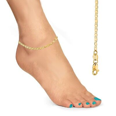"14k Solid Gold Mariner Link Chain 1.6mm 10"" Inch Anklet Ankle Bracelet"