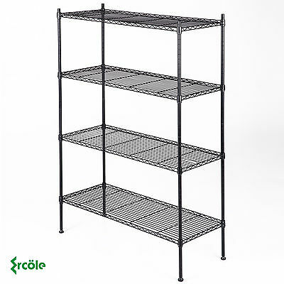 Black Storage Rack 4-Tier Organizer Kitchen Shelving Steel Wire Shelves