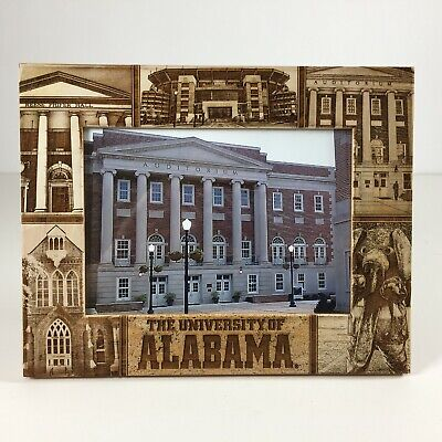 Alabama Crimson Tide Glass Picture Frame Campus Places Etched In Wood Frame 6x4