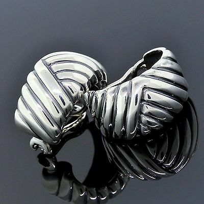 Gucci Jewelry 925 Sterling Silver Ribbed Dome Clip On Earrings