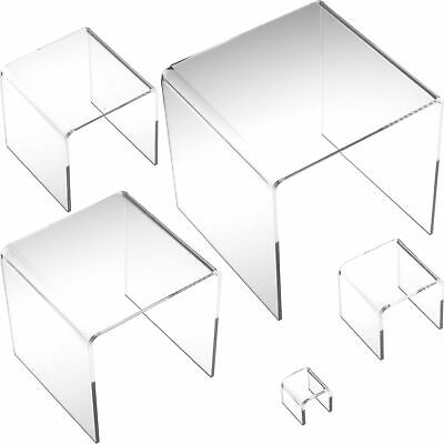5 Display Risers Clear Acrylic Jewelry Showcase Stands