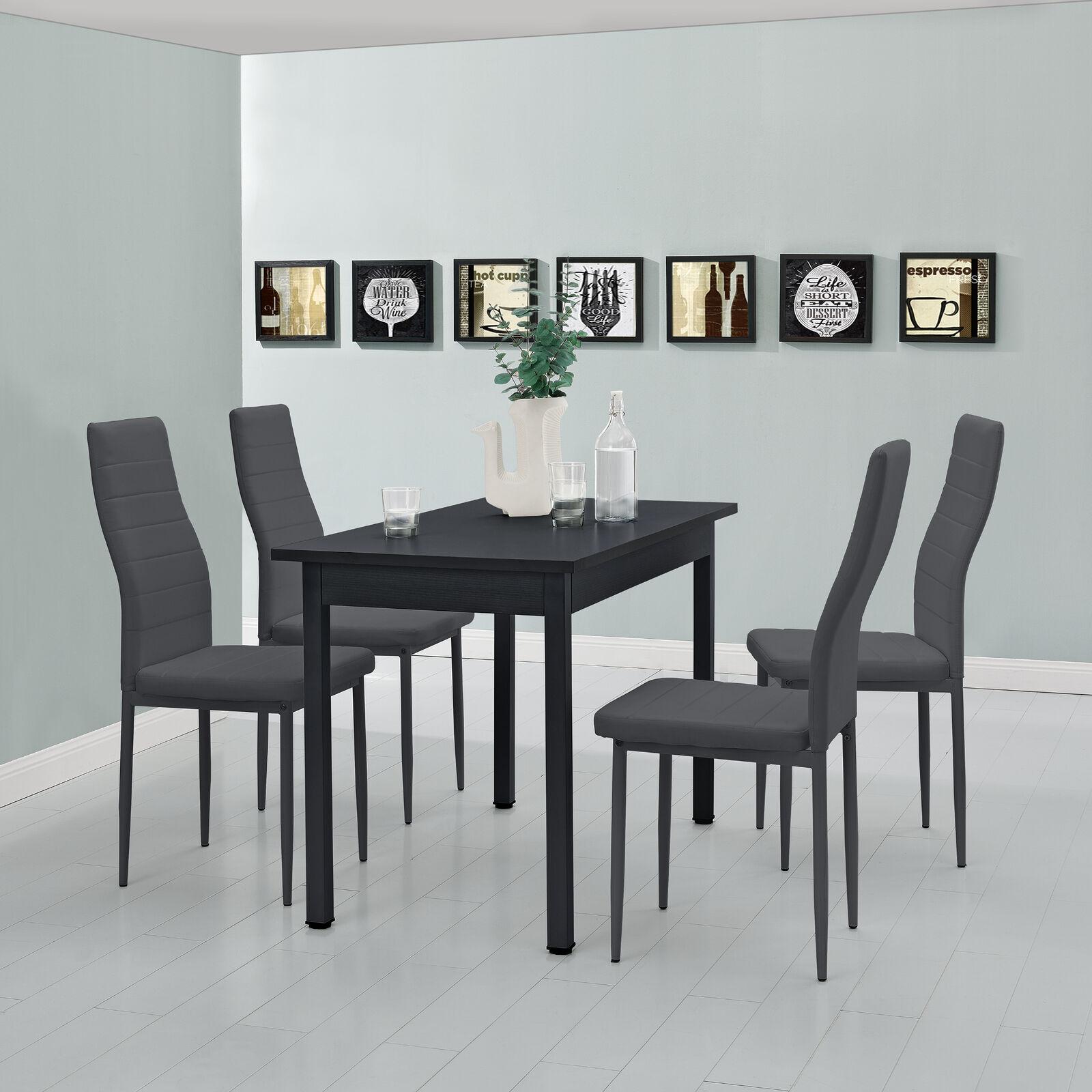 [en.casa]® Esstisch mit 4 Stühlen schwarz/grau 120x60 Küchentisch Esszimmertisch 61