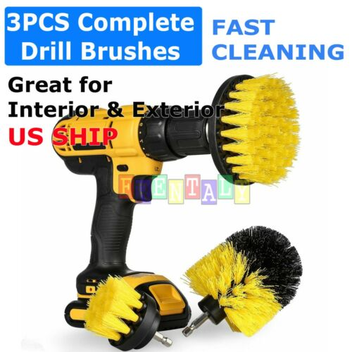 Drill Brushes Set 3pcs Tile Grout Power Scrubber Cleaner Spin Tub Shower Wall
