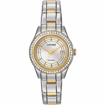 Patrial Eco-Drive Women's Silhouette Crystal Two-Tone 28mm Watch FE1124-58A