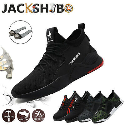 Mens Work Boots Safety Shoes Steel Toe Cap Sneakers Lightweight Breathable Hike