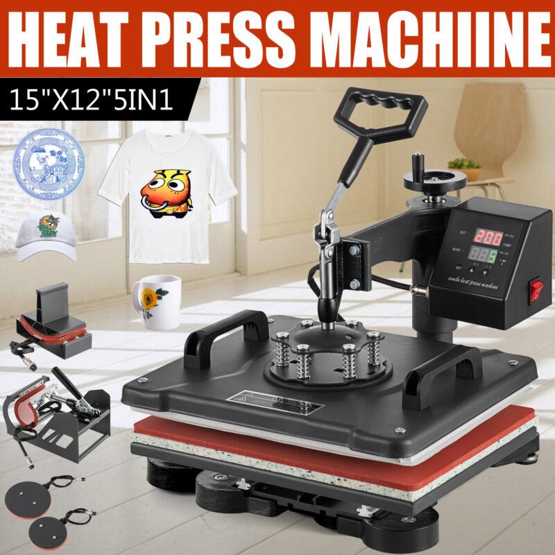 "5 IN 1 Combo T-Shirt Heat Press Transfer 15""x12"" Printing Machine Swing Away"