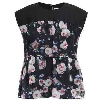 Rebecca Minkoff Black Lanzy Tiered Floral Top Size XS