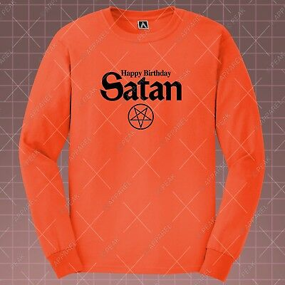 Halloween Satan Long Sleeve T-shirt Party Birthday Demon Tee Funny Fancy Lit Top](Satan Birthday Halloween)