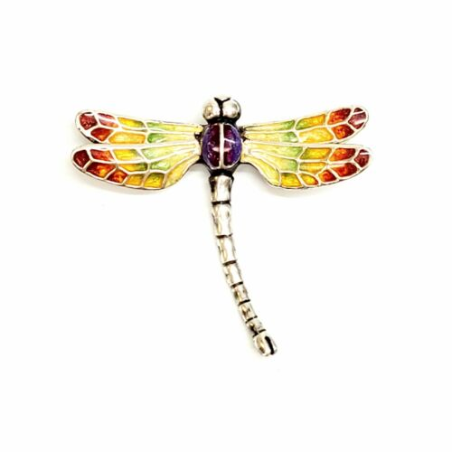 Italy Sterling Silver Thistle & Bee Rainbow Enamel Dragonfly Pin #8009