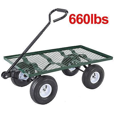 Heavy Duty Utility Garden Wagon Nursery Cart Wheelbarrow Steel Trailer Lawn Yard