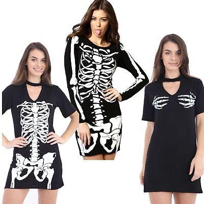 Womens Ladies Halloween Costume Skeleton choker Mini Swing bodycon Dress fangs