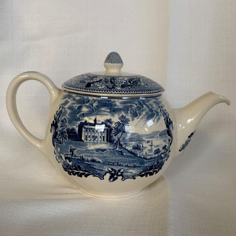 Vintage Johnson Brothers England Historic America Mount Vernon Teapot (Blue)