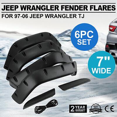 6PCS Fender Flares For 97-06 Jeep Wrangler TJ Pocket Style Textured Black