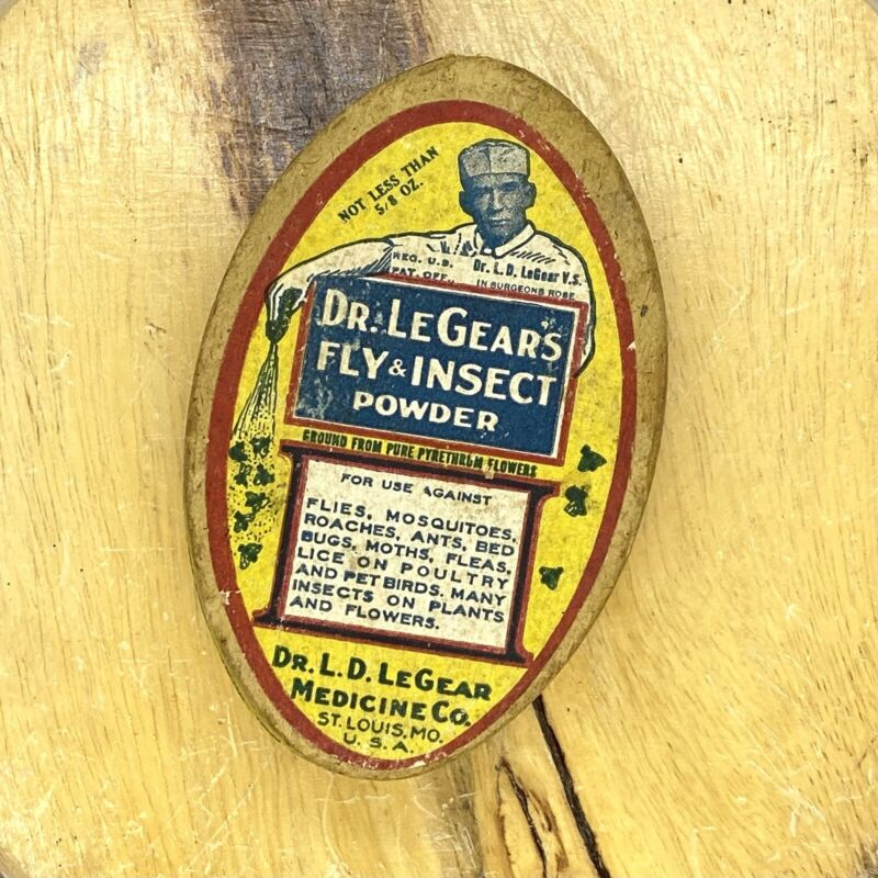 ANTIQUE DR. LEGEAR'S FLY & INSECT POWDER ADVERTISING - FULL (TIN CAN)