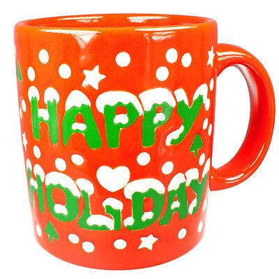 Kaffeebecher Happy Holiday Wächtersbach ROT weiß Becher 1.W Kaffee Tasse Keramik Holiday Becher