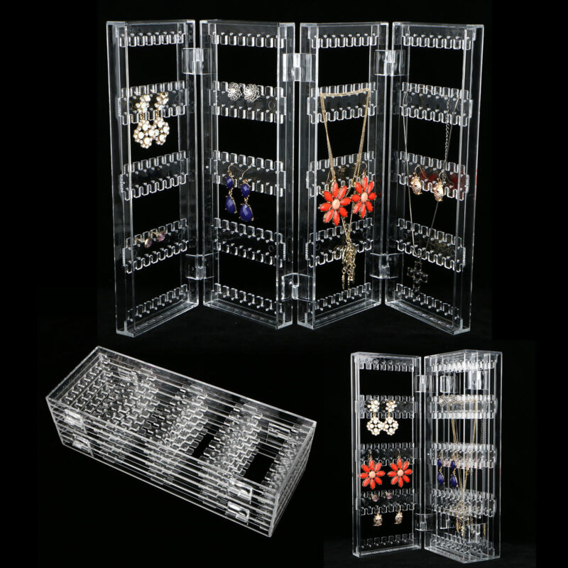 Clear Acrylic Earrings Necklace Jewelry Display Rack Stand Organizer Holder Case