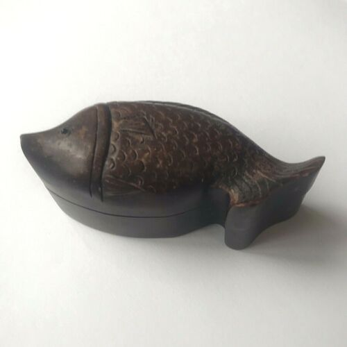 Antique Asian Wood Fish Shaped Trinket Box w Scales & Ceramic Eye 3.5""