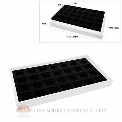 White Plastic Display Tray 28 Black Compartment Liner Insert Organizer Storage