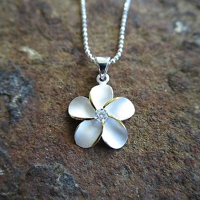 (15mm Plumeria 2 Tone Hawaiian Flower Genuine 925 Silver Pendant Necklace SP43705)