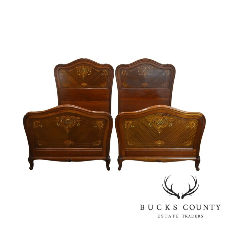 R. J. Horner Antique Mahogany Marquetry Inlaid w/ Mother of Pearl Pair Twin Beds