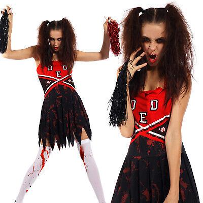 Halloween Cheerleader Zombie Kostüm Blutige Schulmädchen Kleider Horror - Großen Schwarzen Kostüm