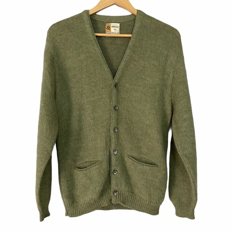 Vintage Mohair Blend Cardigan Cobain Sweater Grunge Fuzzy Men