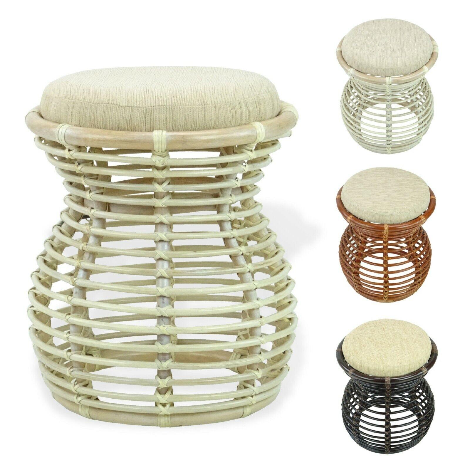 natural rattan wicker milan ottoman stool vanity