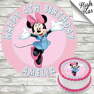 MINNIE MOUSE EDIBLE ROUND BIRTHDAY CAKE TOPPER DECORATION PERSONALISED - Minnie Mouse Cake Decoration