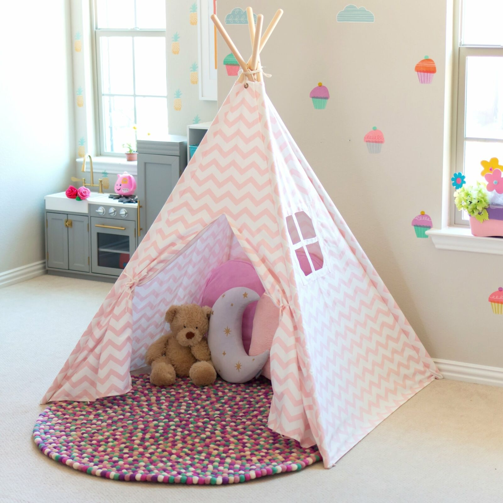 sports shoes 83310 cbc3c Details about Large Teepee Tent for Kids Pink Princess Chevron Cotton  Canvas Girls Play Tent