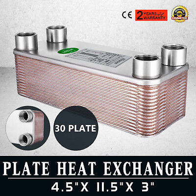 30 Plate Water to Water Heat Exchanger Oil Cooling Heating/Cooling 1 NPT Brazed