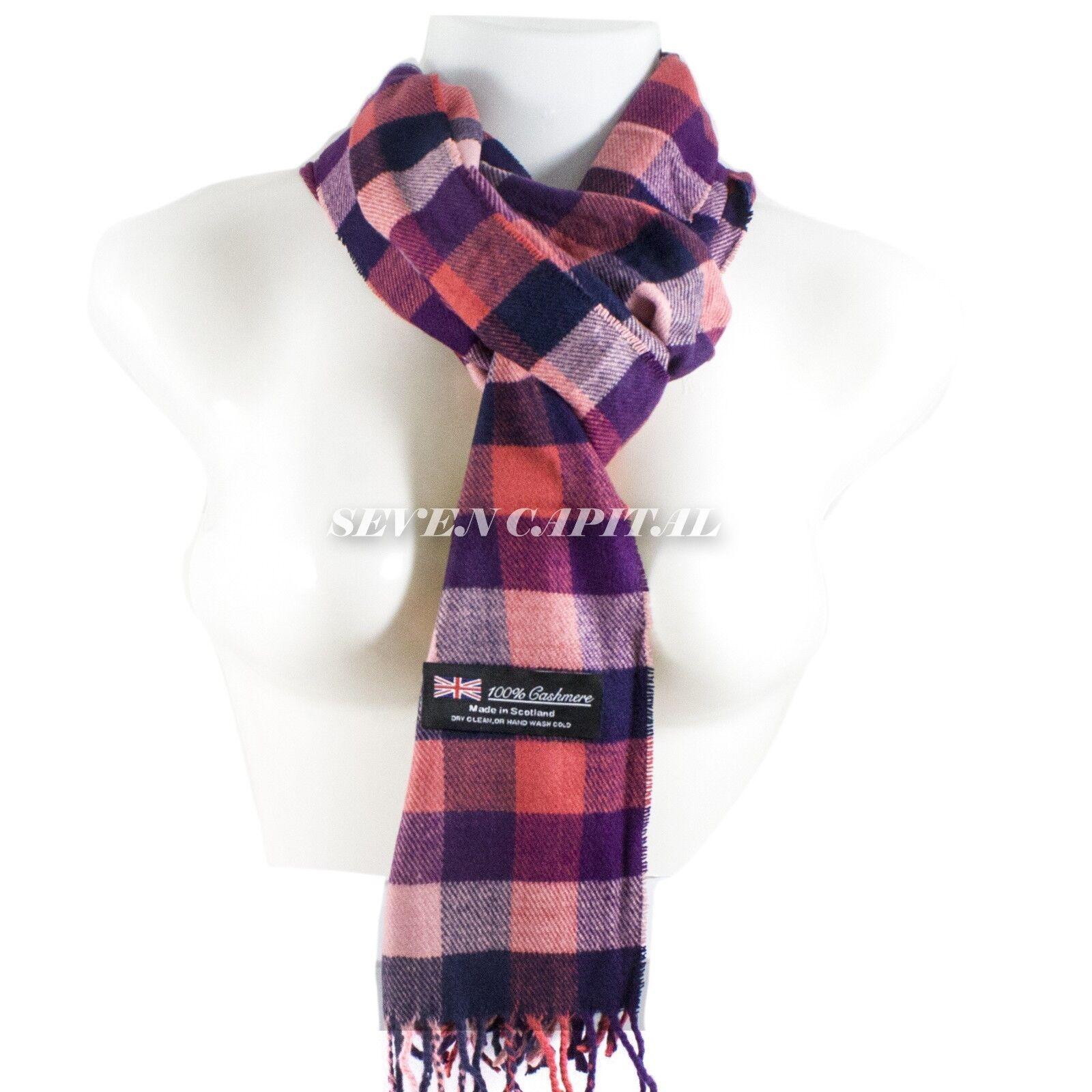 Mens Womens Winter Warm SCOTLAND Made 100% CASHMERE Scarf Scarves Plaid Wool 2. Plaid: Red/Blue/Purple