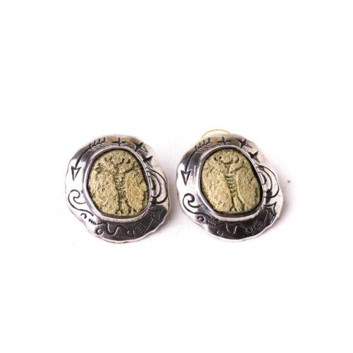 Vintage Signed Sterling Silver Robert Shields Petroglyph Earrings