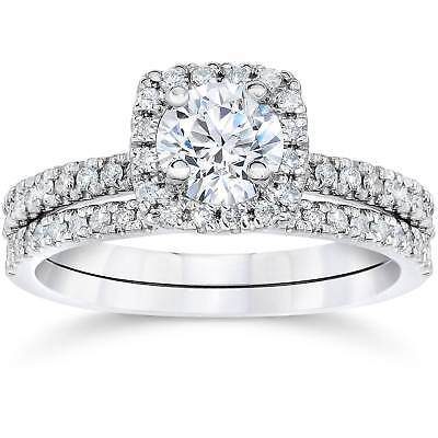 5/8Ct Cushion Halo Real Diamond Engagement Wedding Ring Set White -