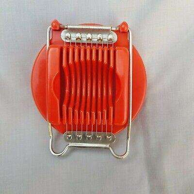 True Vintage Retro Egg Slicer – Red Plastic & Metal - Kitchenalia