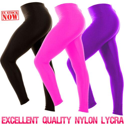 Girls Children Shiny Footless Leggings Gymnastics Ballet Dance Nylon Lycra Kids