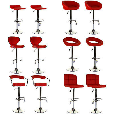 Set of 2 Marko Kitchen Breakfast Bar Stool Faux Leather Padded Swivel Chair Red