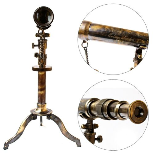 Nautical Brass Telescope W. Ottway London 1915 Vintage Floor Metal Tripod Marine