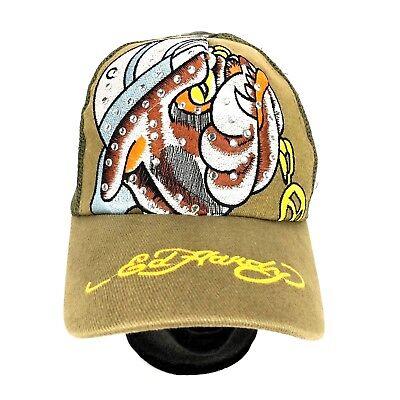 Ed Hardy Trucker Hat Snapback Rhinestone Bulldog Bull Dog Mesh Back Cap Brown  Rhinestone Mesh Back Cap