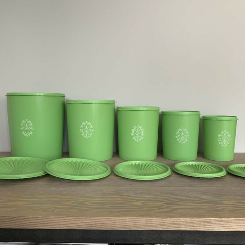 Vintage Tupperware Canister Set of 5 with Lids Green Nesting Original Owner!!