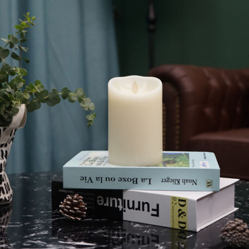 Luminara Flameless Pillar Moving Wick Ivory Candles Remote V