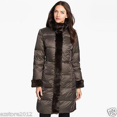 New $360 Ellen Tracy Women's Knee-Length Down Coat Jacket Parka - Faux Fur Trim Knee Length Down Coat