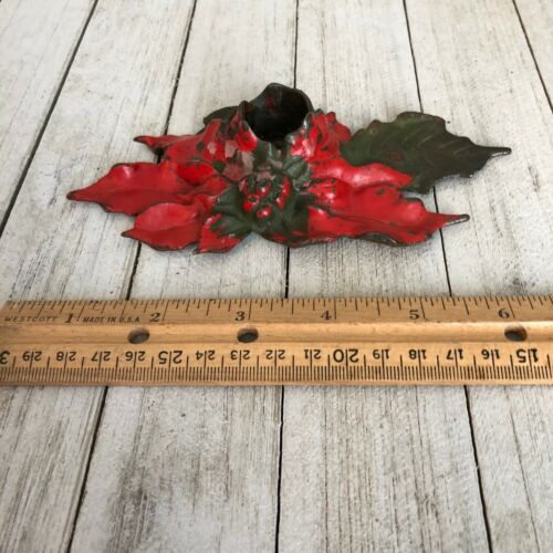 Poinsettia Cast Iron Candle Holder 1922 Vintage Christmas