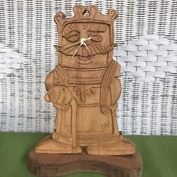 Wooden Carved Father Time Grandfather 12 Inch Tabletop Clock Battery Operated