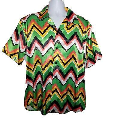 SSS world Corp Men's Short Sleeve Shirt Crazy Waves Pattern Size XLarge